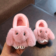 New 2017 Winter Children Shoes Girls Boys Cotton Slippers Lovely Cartoon Rabbit Soft Baby Shoes Warm Plush Kids Cotton Shoes