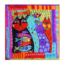 LESIDA Pure Silk Women Scarf Rainbow Cats Printing Echarpes Foulards Femme 2017 Square Bandana Neck Scarves Hijab 53*53CM ZS9045(China)