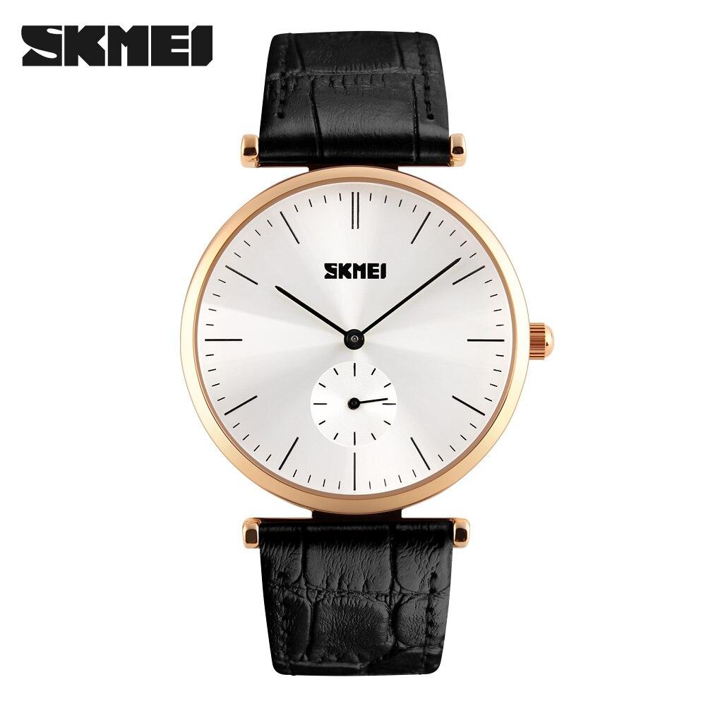 SKMEI Men Fashion Casual Watches Seconds Dial Leather Strap Relogio Masculino Waterproof Wristwatches Black Mens Quartz Watch<br><br>Aliexpress