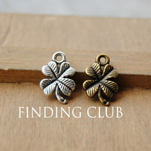 Free Shipping! 50 pcs Antique Silver/Bronze 4 Leaf Clover Charms Diy Jewelry Findings Jewelry Accessories 11x17mm A695/A696