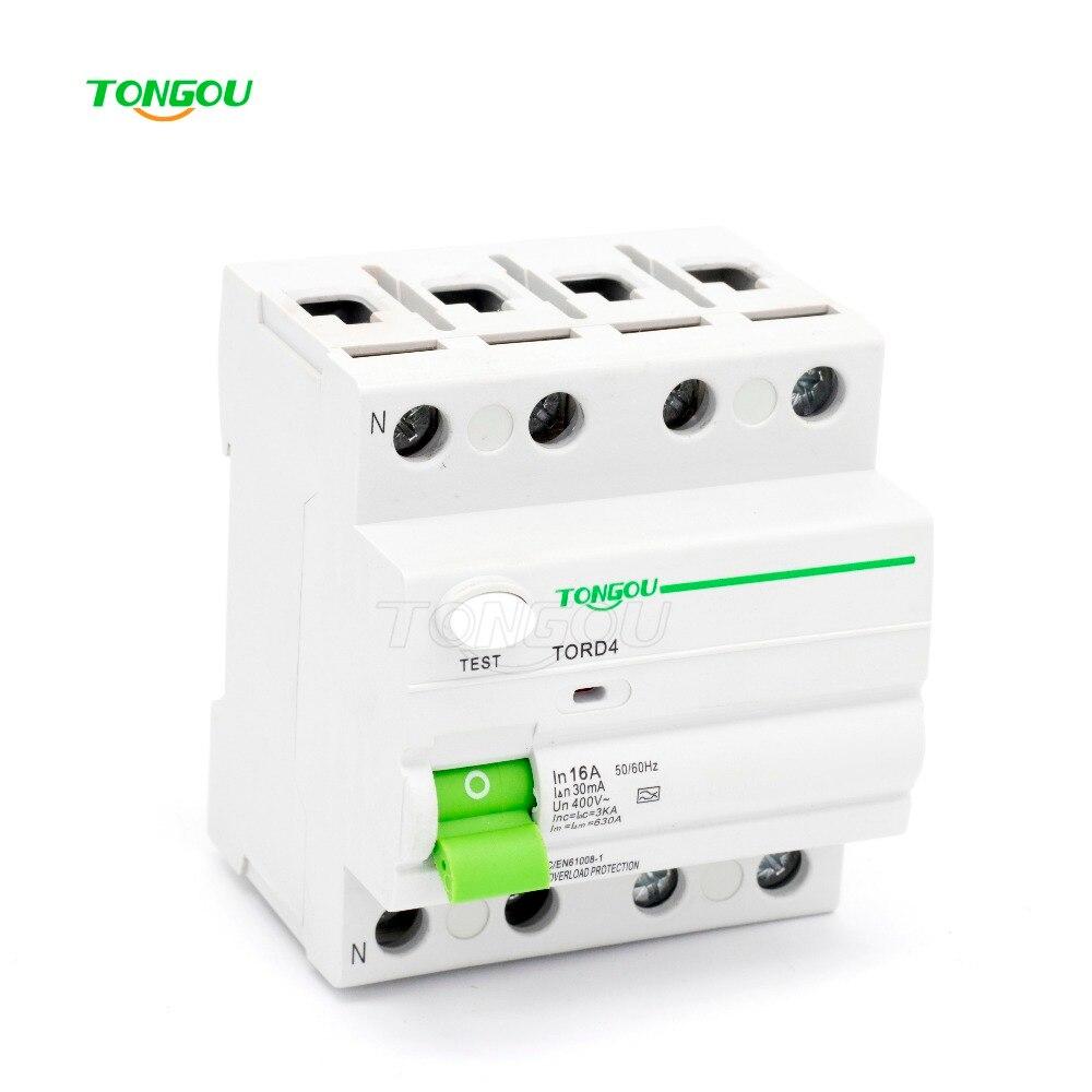 4P 16A 30mA 220V 380V AC Magnetic type Residual Current Circuit breaker RCD RCCB <br>