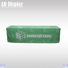 8ft Loose Fit Advertising Table Cover Polyester Fabric Four Sides Printing,Trade Show Table Throw With Your Own Design(China)