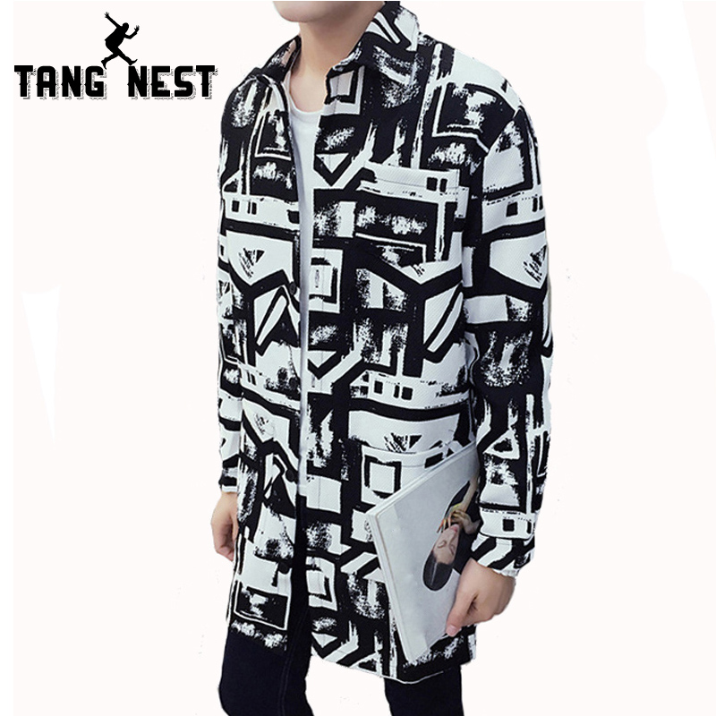 TANGNEST Autumn Men Jacket 2017 New Arrival Fashion Long Trench Coat Male Black White Personality Slim Handsome Jacket MWD057(China)