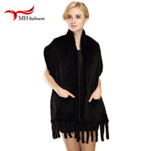 Women Knitted Real Mink Fur Scarf With Tassels Winter Warm Mink Fur Knitting Scarves Warm Collar Natural Fur Shawl 175X50cm S#16