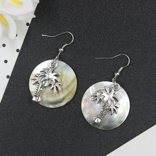 Wholesale Fashion Antiques Silver Coconut tree Charms Pendants Dangle Earrings For Women Jewelry  HE1036