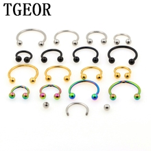 Free shipping hot wholesale 100pcs 16G surgical Steel circular BARBELL plated titanium COLORS piercing horseshoe ring(China)