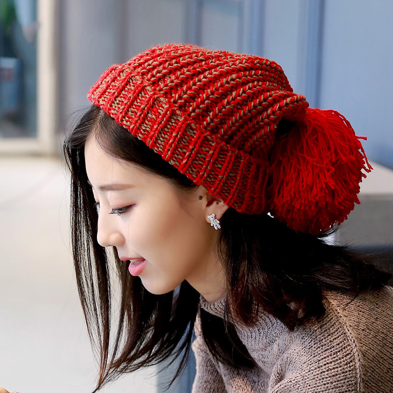 Fashion Casual Large Badminton Ball Thickening Knitting Thick Wool Cap Female Han Edition New Tide Earmuffs Winter Warm HatОдежда и ак�е��уары<br><br><br>Aliexpress