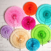 "Free Shipping 10pcs/Lot 7.5""(19cm) Snowflake Paper Fan Wholesale/Retai Tissue Paper Fan Crafts Party Wedding Home Decorations X9"