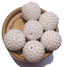 Wholesale White Bumpy 22mm 100pcs/lot Acrylic Resin Pearls Rhinestone Pave Ball Berry Beads for Making Chunky Necklace