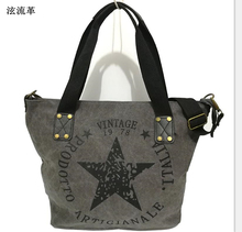 BIG STAR PRINTING VINTAGE CANVAS SHOULDER BAGS Women Travel Tote Factory Outlet Plus Size Multifunctional Bolsos