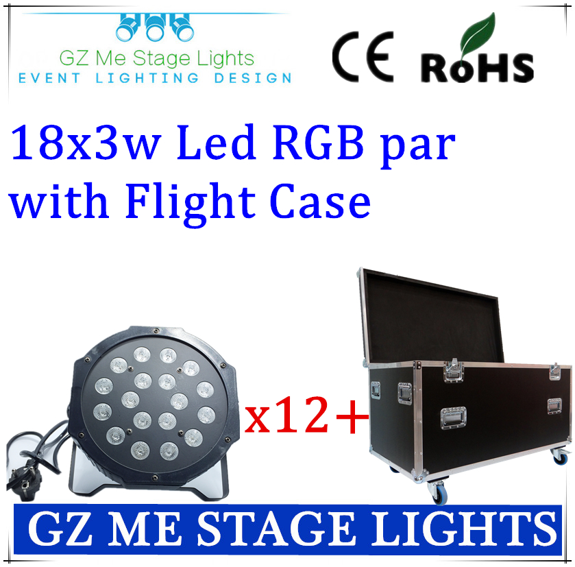 12pcs 18x3W 54W with flight case 110-230V High Power RGB Par Lighting With DMX 512 Master Slave Led Flat DJ Auto-Controller<br>