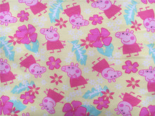 50*170cm Stretch printed Summer pink  flowers pig lycra knitted jersey cotton fabric printing baby clothing making fabric