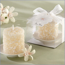 wedding favor gift and giveaways -- Wedding party Souvenir Plumeria Floral-Scented Candle with Ceramic Candle Holder 100pcs/lot(China)