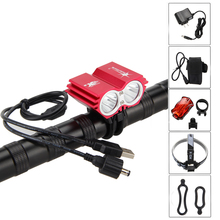 Solar Storm 10000Lm 2x XM-L2 USB LED Front Bicycle Light Bike Accessories With 6400mAh Battery Pack+Headband+Charger+Rear Light