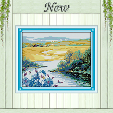 Beautiful spring season wild river Scenery,Counted print on canvas DMC 14CT 11CT DMS Cross Stitch Needlework kits Embroidery Set
