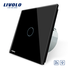 Livolo EU Standard Remote&Dimmer Switch VL-C701DR-12, Black Crystal Glass Panel, 220~250V Wall Light Remote Touch Dimmer Switch(China)