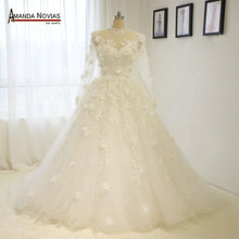 Amanda Novias Brand Real Photos Ball Gown Wedding Dress With Lace Flowers Jacket