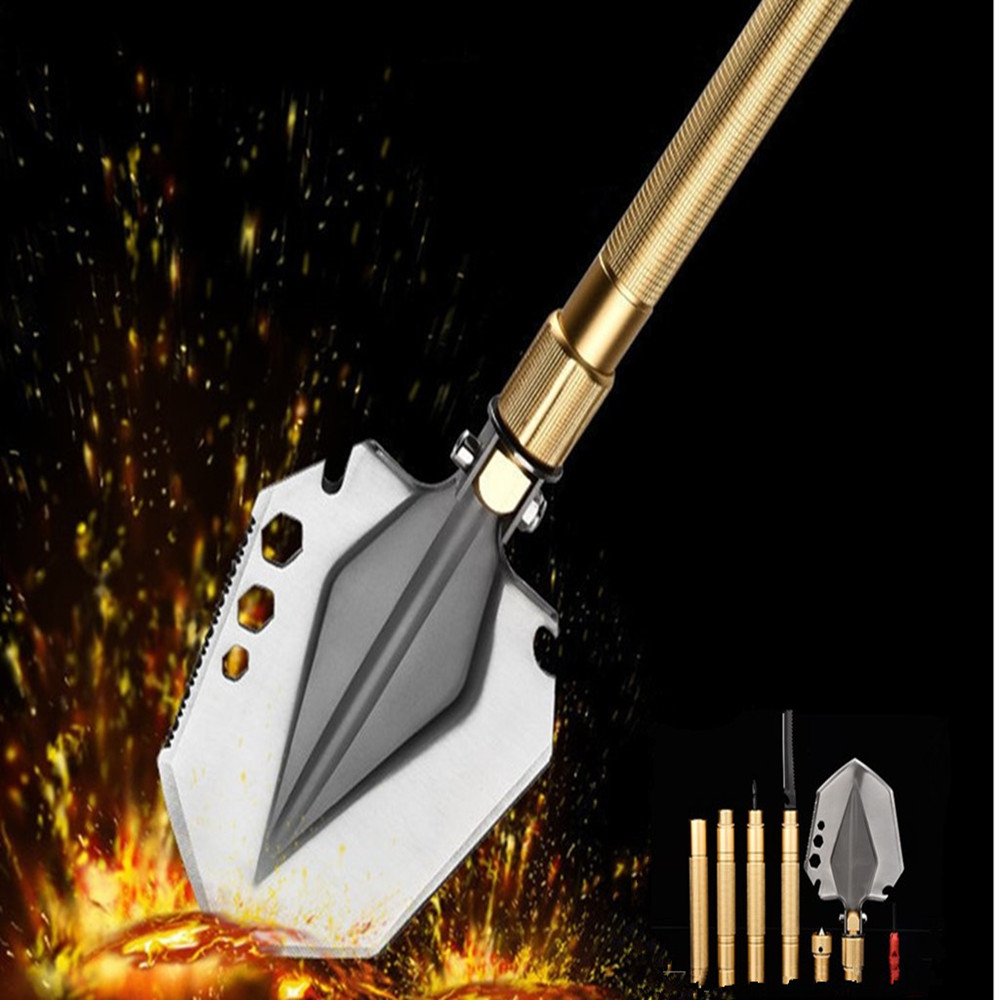 Foldable Shovel Shovels Multifunctional Camping Military Tactical Survival Outdoor Tools Manganese Steel Selfdefense Tool garden<br>
