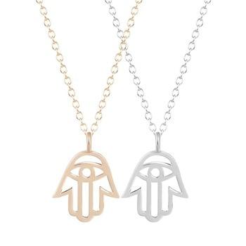 1 Piece Hamsa Hands Pendant Necklace Zinc Alloy Chocker Necklace for Women Handmade Fashion Jewelry Pendant Necklace