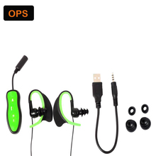 New LED IPX8 waterproof MP3 player headphone,swimming earphone and running headphone &built in 4G memory card headset