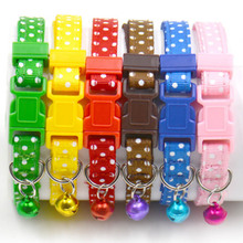1pcs Dot Print Nylon Dog Puppy Cat Collars Multi Colors Cat Harness With Bell For Pet Small Animal Pets Supplies