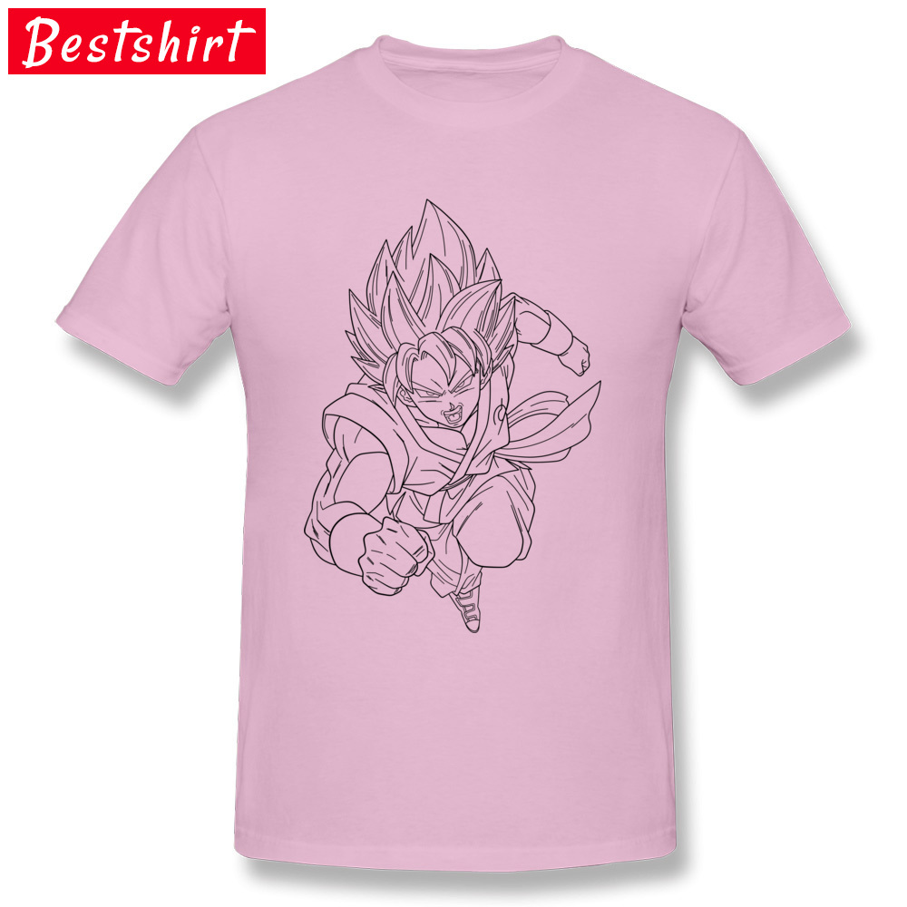 Printed On Short Sleeve Tops & Tees Thanksgiving Day New Coming Round Neck Pure Cotton T-Shirt Men T Shirt goku super saiyan  goku super saiyan  pink