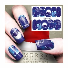 ZKO 1 Sheet Christmas Nail Sticker Water Adhesive Foil Nail Art Decorations Tool Water Decals 3D Design Nail Sticker Makeup 2143(China)