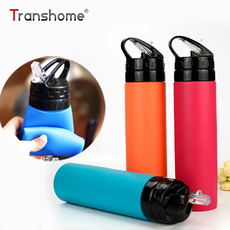 Transhome Silicone Water Bottle 600ml Creative Foldable Eco-friendly Outdoor Cycling Sport Traveling Portable Leak-proof Bottles