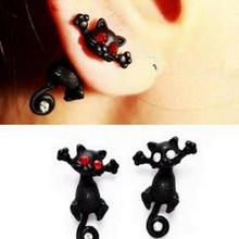 Korea Hot New Fashion Lovely Female Black Imitation Jewelry Wholesale  Earrings Pussycat Dolls (single Price)