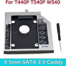 "High Quality Second HDD Caddy 9.5MM SATA to SATA for 2.5"" SSD Hard Disk Case for Lenovo ThinkPad T440P T540P W540 Optical Bay"