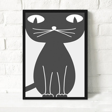 Lovely Big Eyes Black Cat Canvas Art Print Painting Poster Cute Kitty Nursery Wall Picture Home Decor For Kids Bedroom No Frame(China)