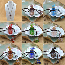 Coloured Glaze Essence Oil Bottle Pendant Necklace Diffuser Perfume Fragrance Light in the Dark Noctilucent Gift