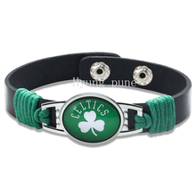 6pcs/lot! Boston Basketball Genuine Leather Adjustable Bracelet Wristband Cuff 12mm Black Leather Snap Button Charm Jewelry