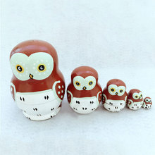 2016 5pcs/ Set Russian Matryoshka Dolls Lovely Owl Nesting Wooden Hand Printed Crafts Doll Home Decor Gifts FJ88