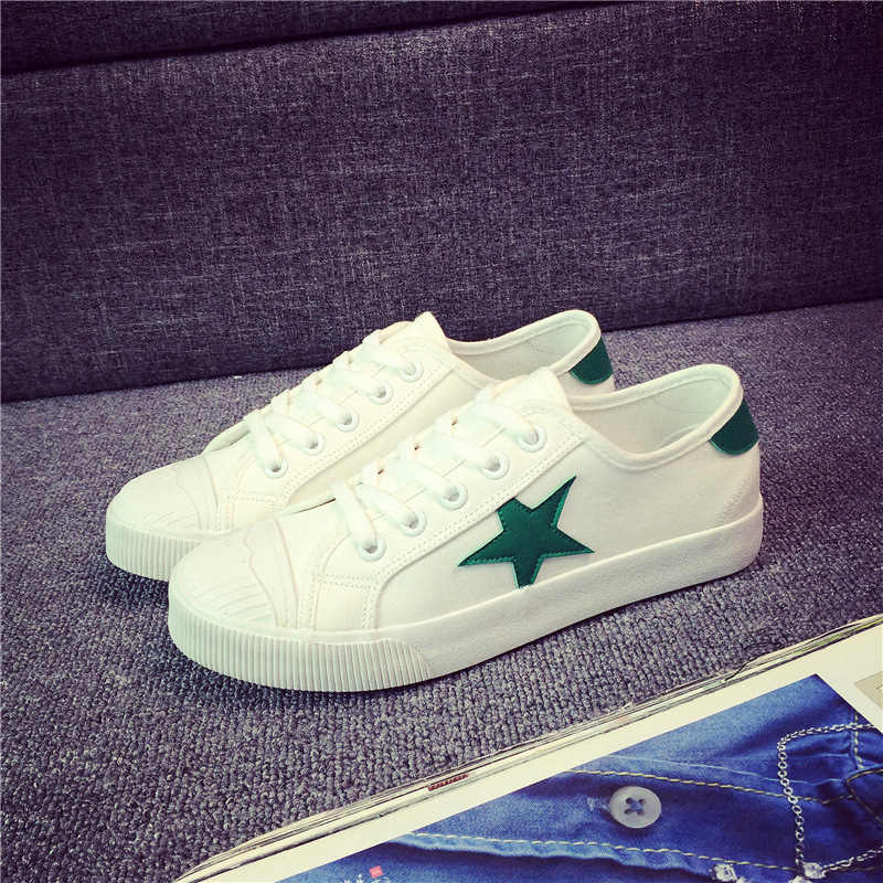 New spring and summer white canvas shoes Korean student flat shoes white five-pointed star star casual women flat shoes<br><br>Aliexpress