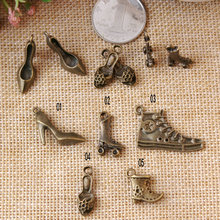 Newest Vintage Bronze Plated metal Cartoon High-heeled/skates/sandals shoes shape jewelry charms diy phone/key chain pendants