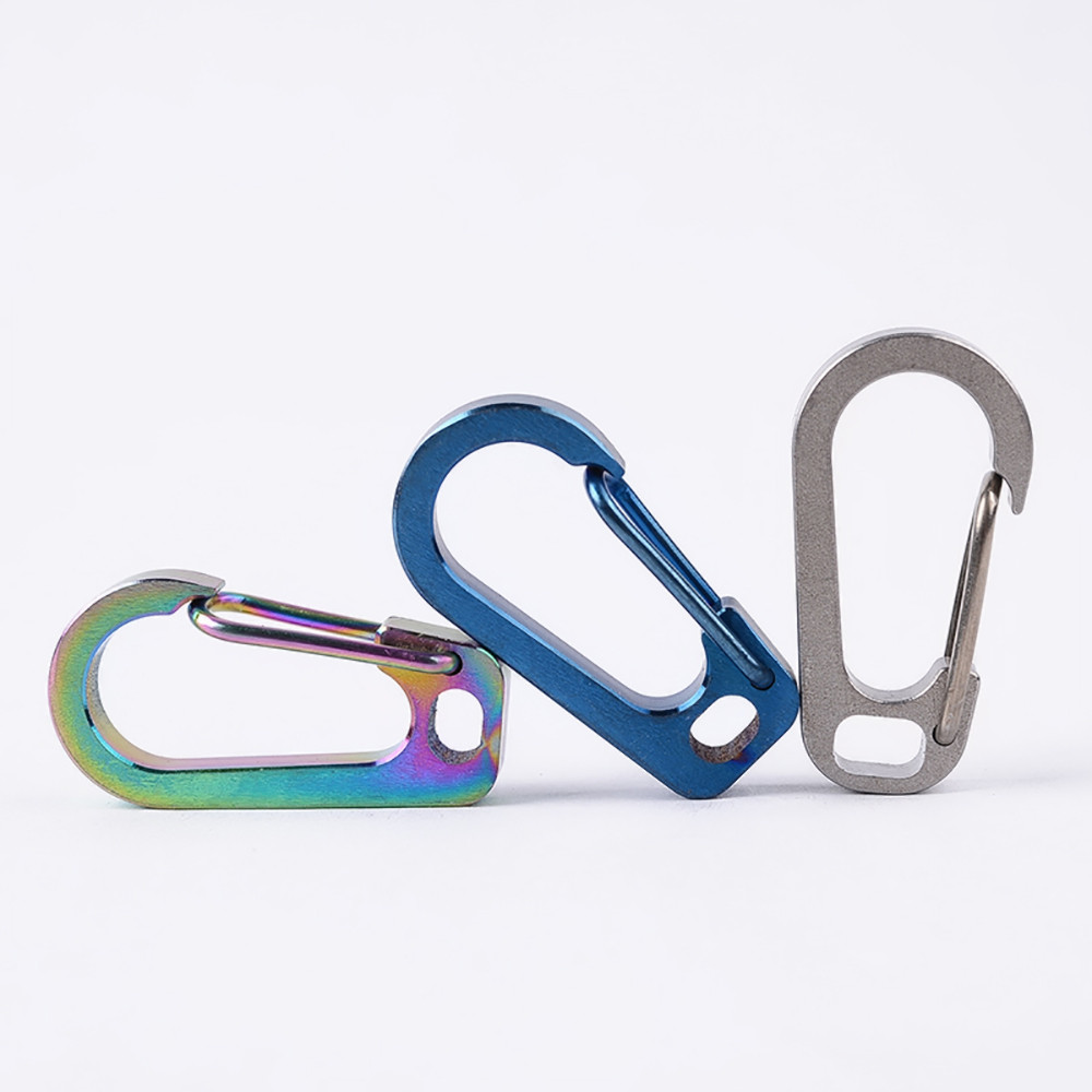 TC4 Titanium Alloy Outdoor Buckle Carabiner Keychain Key Ring Clip Hook 25KG US