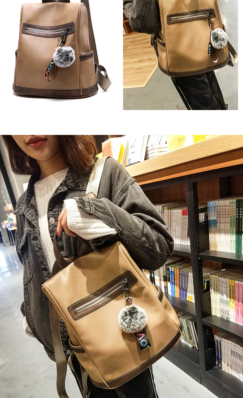 2018 New High-end Fashion Backpack Trend Simple Personality Fashion Campus Bag Large Capacity Bag Soft Leather Travel Backpack 46 Online shopping Bangladesh