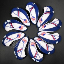 10pcs Neoprene Golf Club Iron Head Cover Set White With Blue US Flag Headcovers One size Fit All Irons Clubs Golf Accessories(China)