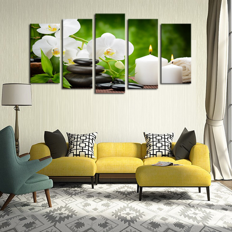 Frame 5 Panel Oil Painting Canvas White Candle Flower Modular Decoration Home Decor Modern Wall Pictures For Living DC1-100(18)(China (Mainland))