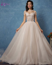 Waulizane Elegant Silky Organza Ball Gown Wedding Dresses Appliques High Collar Cap Sleeves Chapel Train Princess Bride Gowns