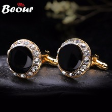 2017 Jewelry Cufflink For Shirt Cufflink Branks Black Onyx Cufflinks With Gold Crystal 0428 Free Shipping
