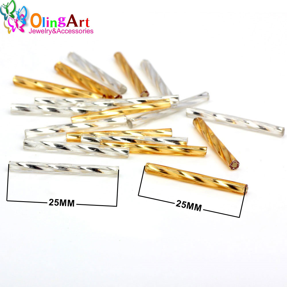 OlingArt Gold silver Color Tube 2.5x25mm 45g/lot Twist tube Glass Seed Beads DIY Accessory necklace jewelry making