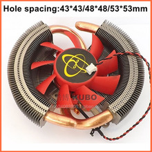 Supporting Multi-platform pure copper 43/48/53mm hole spacing A/ N Video graphics card fan cooler heat sink heat pipe(China)