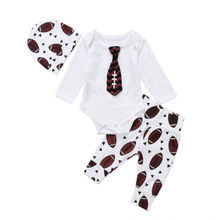 cool Newborn Baby Boy Rugby outfits gentleman Tie long sleeve Bodysuit long Rugby Pants Leggings baby autumn Outfit Set Clothes(China)