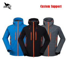 2016 Custom Waterproof Hiking Clothing Tech Fleece Thermal Softshell Jacket Men Windproof Ski Climbing Hunting Fishing Clothes(China)