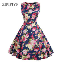 ZIPIPIYF Summer Dres Plus Size 2017 Vintage Floral Print 50s 60s Style Dress Women O-neck Sleeveless Party Clubwear Formal Dress