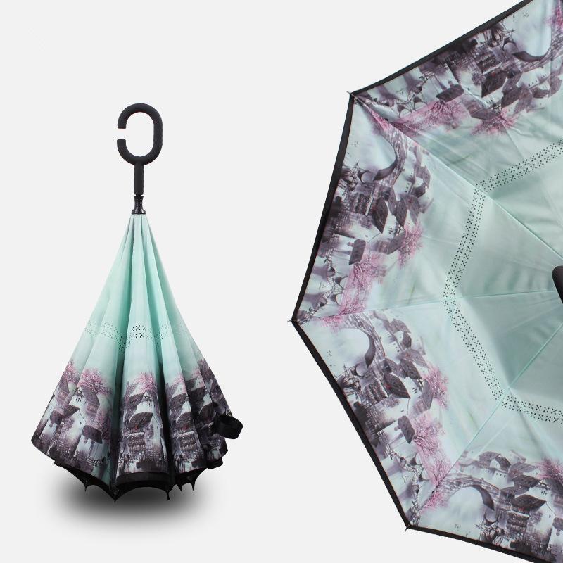 2017 New Arrival Creative C Hook Handle Reverse Folding Double Layer  Windproof Rainy Sunny Umbrella Fishing Car Cane Gift Women   Us612