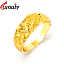 Top Quality Gold Filled Wedding Rings For Girl Women 24K Gold Vacuum Plating Jewelry Fashion Party Gift Ring Free Shipping Anel