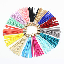 Copper Caps 12pcs 85mm Multi Colors Leather Tassel Suede Tassel DIY Jewelry Bracelet Accessories Charms Bohemia Cell Phone Strap